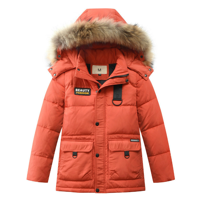 2018 New Winter Child Down Jacket Boy's Medium Length Hair Collar Thickened And Warm Child Outdoor Hiking Coat