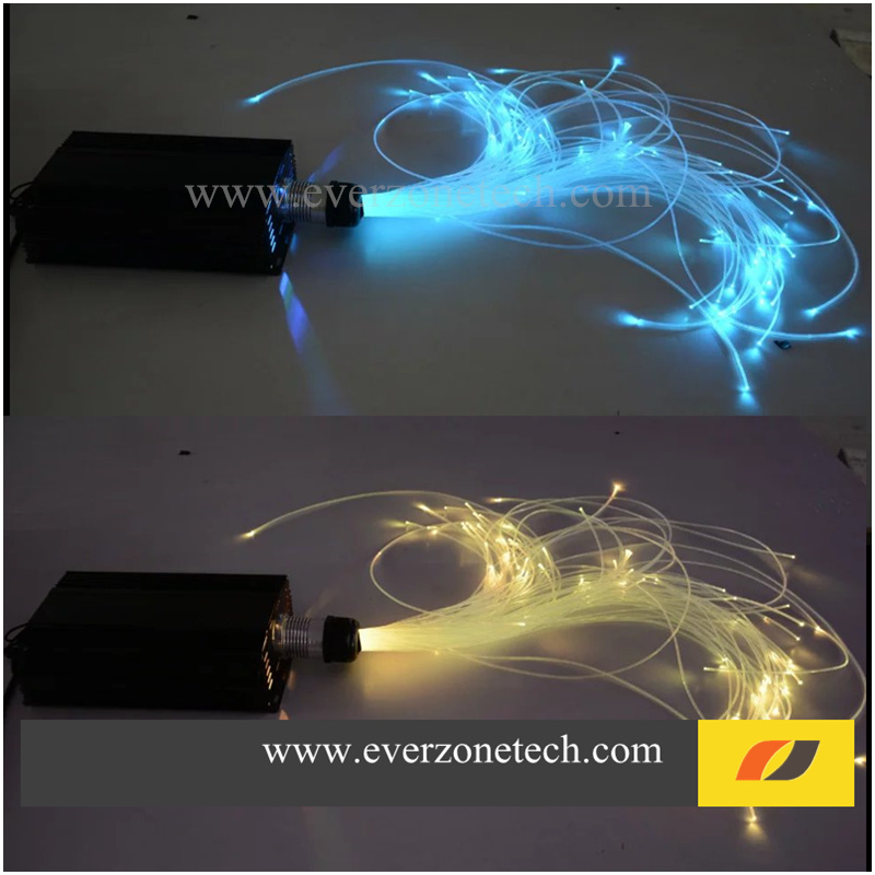 16W LED RGBW Colors Fiber Optic Lighting Kits 250pcs 0.75mm 10pcs 1.0mm Fiber Optic Cable 2m with RF Remote Controller