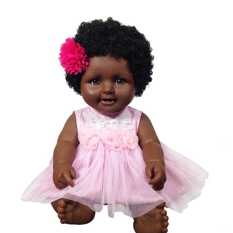 Bébé poupée noire 50cm Joint mobile corps entier silicone vinyle reborn bébé fille poupée afro-américaine poupée jouets cadeau pour enfant