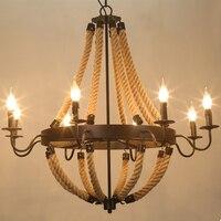 로프트 복고풍 샹들리에 조명 금속 + 코드 e14 촛불 전구 산업 led 샹들리에 램프 호텔 홈 매달려 램프 AC 110 볼트 220 볼트