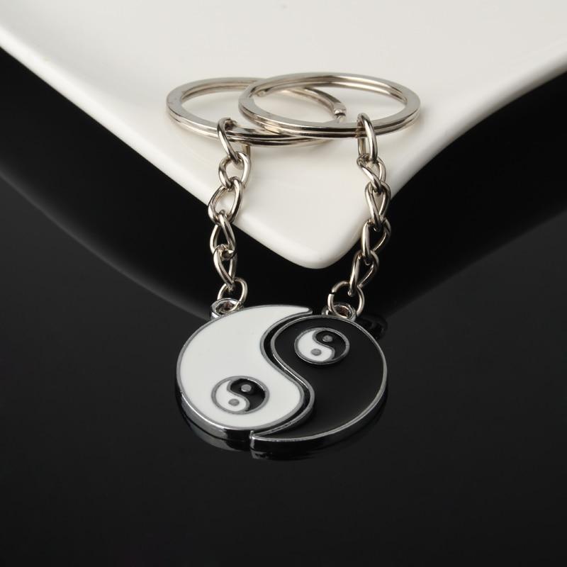 1Set Chineae Style Yin Yang Keychain Keyring For Lover's Men Women Jewelry Silver Plated Enamel Key Holder Keyring Best Friend