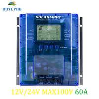 Contrôleur de Charge OOYCYOO MPPT 60 ampères, 12 V/24 V Auto, Max 100 V, 780 W/1560 W régulateur solaire d'entrée, avec écran LCD pour plomb-acide