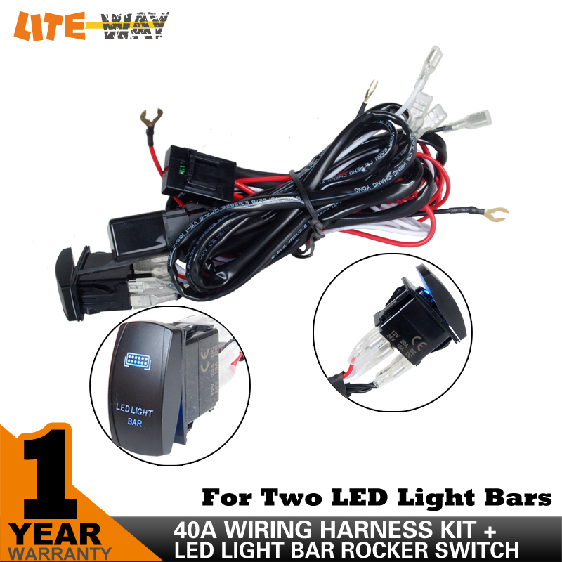 12V LED Light Bar Wiring Harness 40 Amp Relay Fuse ON OFF Laser Rocker Switch Blue aliexpress com buy 12v led light bar wiring harness 40 amp relay rocker switch wiring harness at et-consult.org
