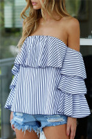 2017 Off Shoulder Ruffles Blouse Women Blue Stripped Blouses Half Sleeve Blusas Feminina Fashion Shirt Blouse