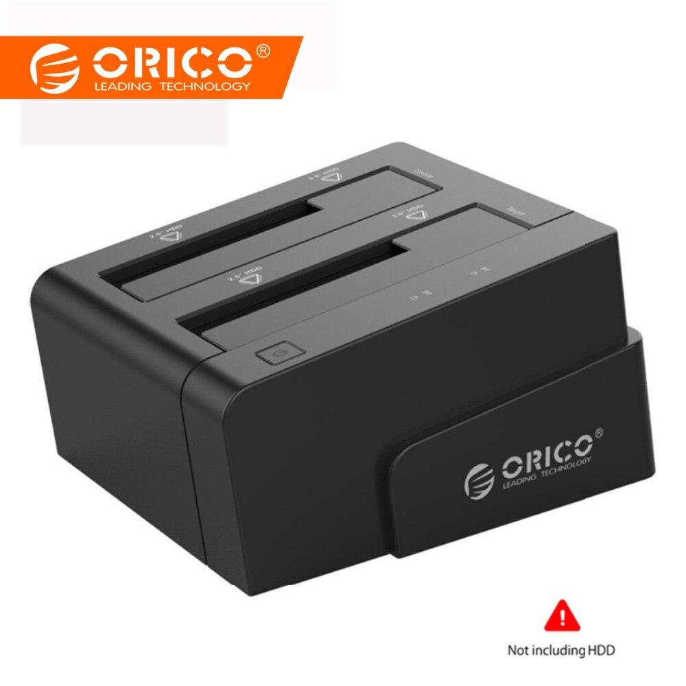 ORICO Station D'accueil 2.5 3.5 Double Bay USB 3.0 à SATA HDD boîtier ssd Disque Dur Outil Livraison Duplicateur 16 TB pour Windows Mac OSX9.1