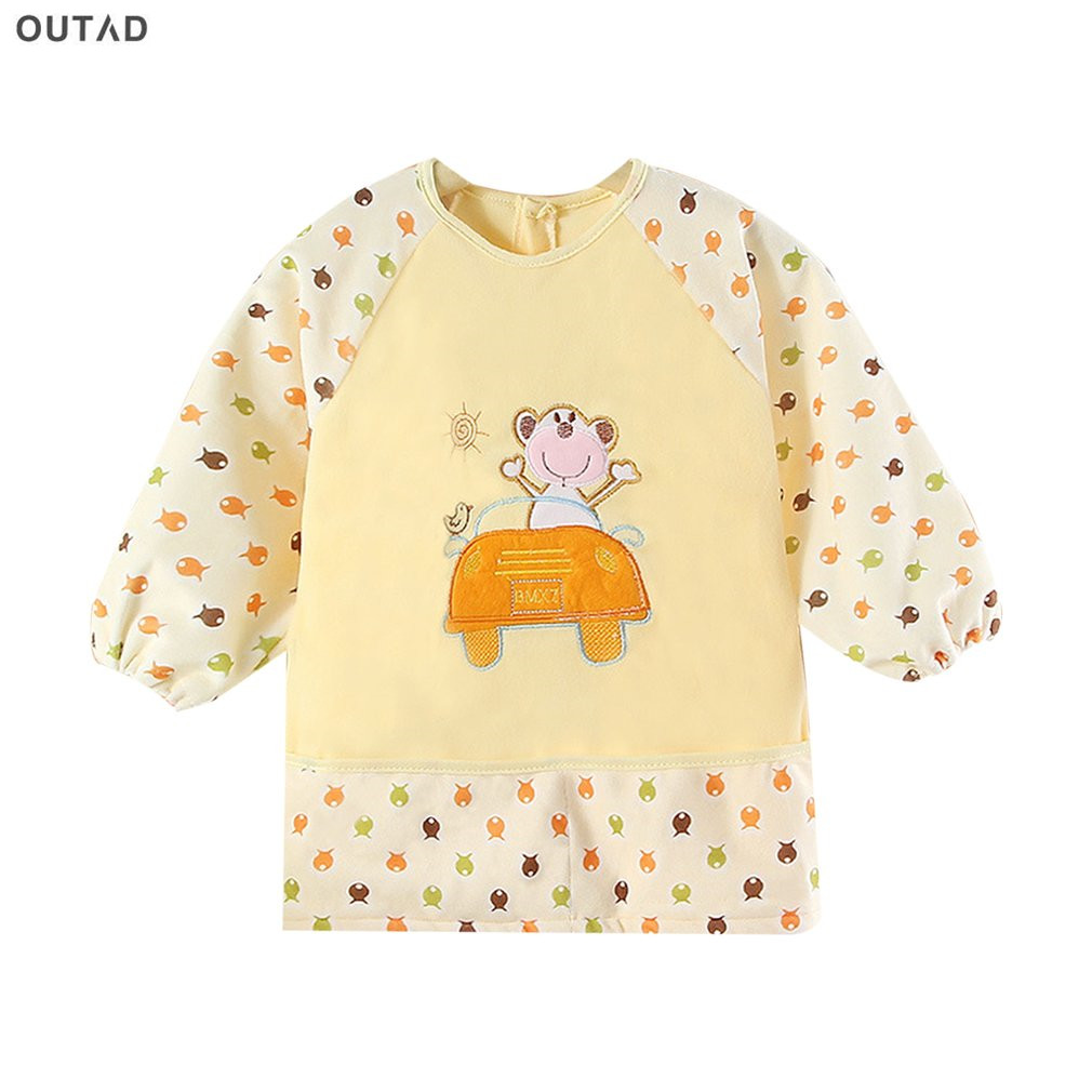OUTAD Waterproof Baby Bibs Cute Cartoon Design Long Sleeve Eating Feeding Baby Bib Apron Baby Self Feeding Clothes Hot Sale
