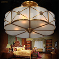 European Modern Style Copper Art Flower Chandeliers Semi-Flush Bedroom Dining room Study room American Style Lamps 1952