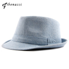 Fibonacci 2018 New Denim Fedoras Hats for Women Men Solid Manhattan  Structured Gangster Trilby Bowler Jazz 281a482a900e