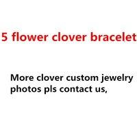 100% 925 sterling silver four leaf clover bracelet for women brand red black malachite white sell five flower bangles bracelets