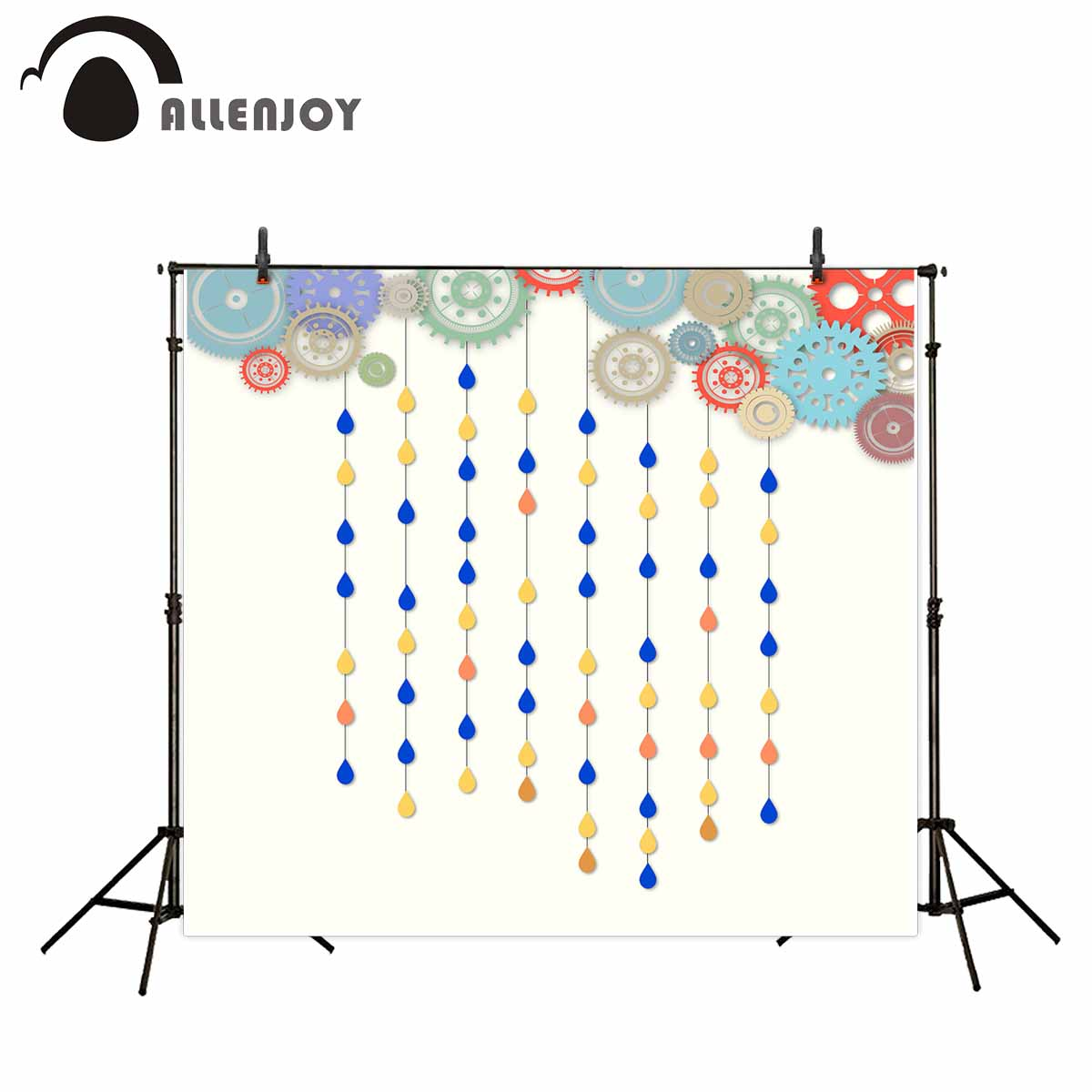Allenjoy photographic backdrop colorful gear sevilla raindrop baby background photocall photobooth vinyl cloth fabric