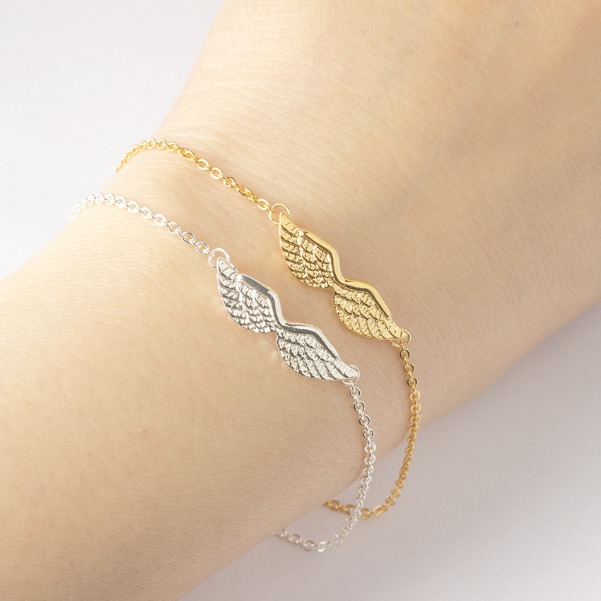 Shining Angel Wings Bracelets For Women Guardian Angel Charms Bracelets Vintage Link Chain Jewelry Bridesmaid Gift Pulseiras