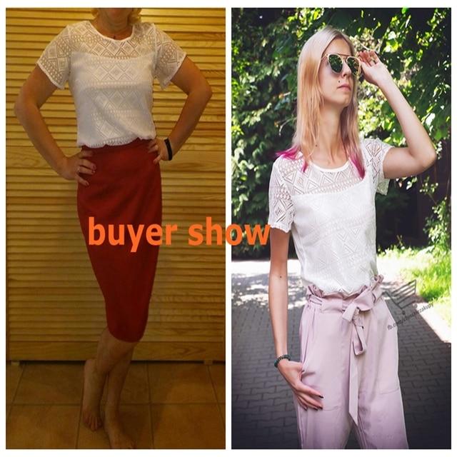 Ladies office Shirt Women White Lace Blouse Short Sleeve Plus Size Korean Crochet Hollow Out Tops Camisas Femininas Qz* 6