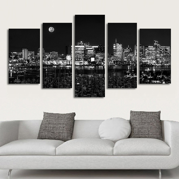 Cuadros Decoration Modern Poster 5 Pieces Black And White City Night View Canvas Painting Wall Art Pictures For Living Room
