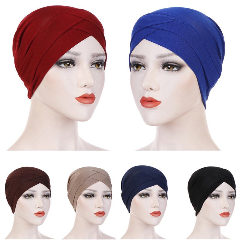 Turban National Muslim Islamic Hijab Caps Retro Ramadan Cap Muslim Women Scarf Decorative Cotton Travel Head Wear Hat 2019 New