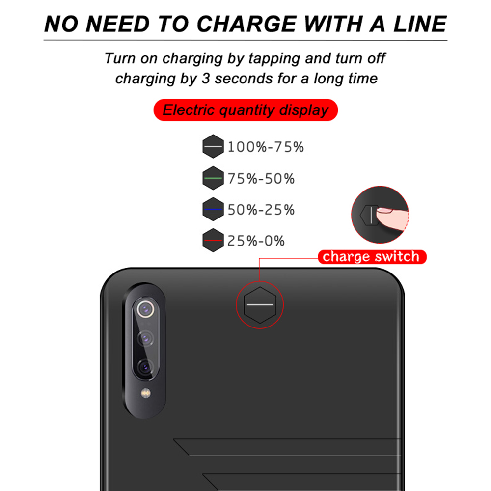 Image 5 - 6800mAh Battery Case For Xiaomi Mi 9 Power Bank Battery Charger Case For Xiaomi 9 Thin Charging Cover Powerbank Case For Mi 9-in Battery Charger Cases from Cellphones & Telecommunications