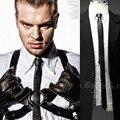Lazo de Cuero de LA PU Negro Marrón de Lujo Corbatas Delgadas para Hombre 2017 Nuevo Diseñador de Moda Flaco Corbata Gravata Estrecho Cuello de Café empate