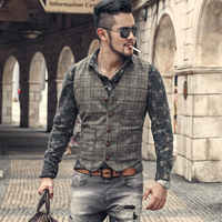 Men Autumn Winter New Retro Slim Casual Lattice Suit Vest Men's Waistcoat Brand European Style Plaid Vintage Business Vest M97 3