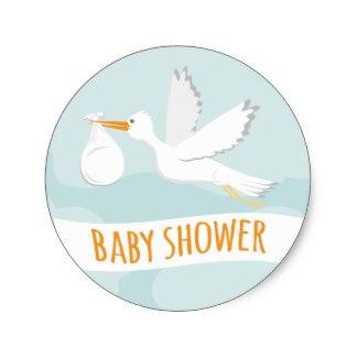 Wonderful 3.8cm Sweet Delivery Stork Baby Shower Sticker