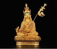 HOT SALE 2019 NEW HOME Talisman Buddhism India Nepal handmade Gold plated Guru Rinpoche Padmasambhava copper Buddha statue