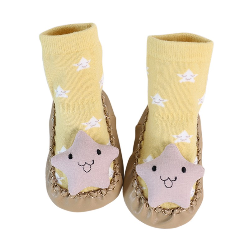 Autum Winter Baby Shoes Socks Cute Newborn Boys Girls Sock Style PU Leather Cotton Anti-Slip Moccasins Cartoon First Walkers