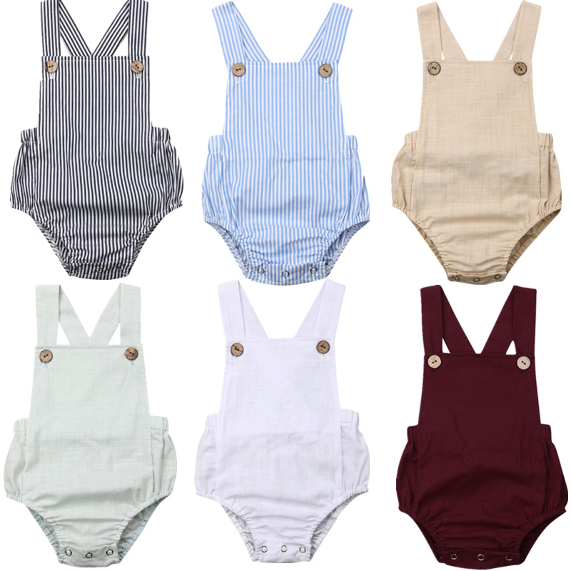 HTB1 L5ZaUuF3KVjSZK9q6zVtXXar 11Color Newborn Infant Baby Boy Girl Bodysuit Summer Button Jumpsuit Striped Casual Sleeveless Backless Solid Outfits Clothes