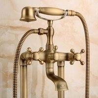 Античная бронза Ванная комната телефон смеситель латунь Вырезка Роскошные Насадки для душа ручка стоя смеситель для душа держатель для бас
