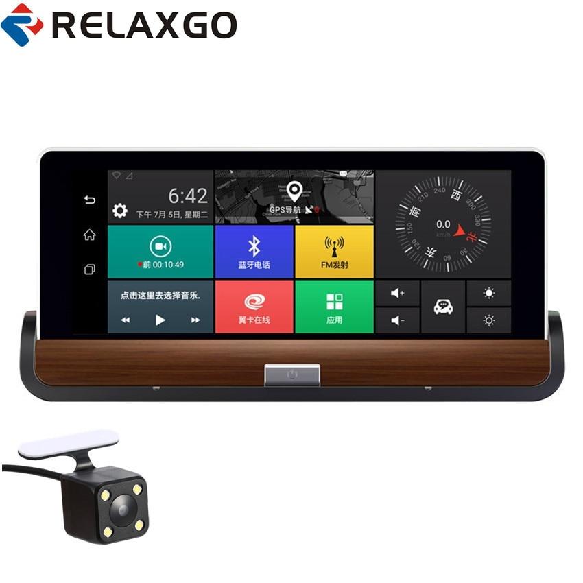 Relaxgo Android 7 3G Wifi Car DVR GPS Navigation Bluetooth Car Camera Full HD 1080P Dual Lens Parking Dash Cam Video Recorder e ace car dvr android touch gps navigation rearview mirror bluetooth fm dual lens wifi dash cam full hd 1080p video recorder