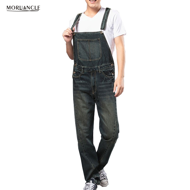 MORUANCLE Fashion Mens Loose Denim Jumpsuits Loose   Jeans   Bib Overalls For Male Big And Tall Multi Pockets Washed Plus Size S-4XL