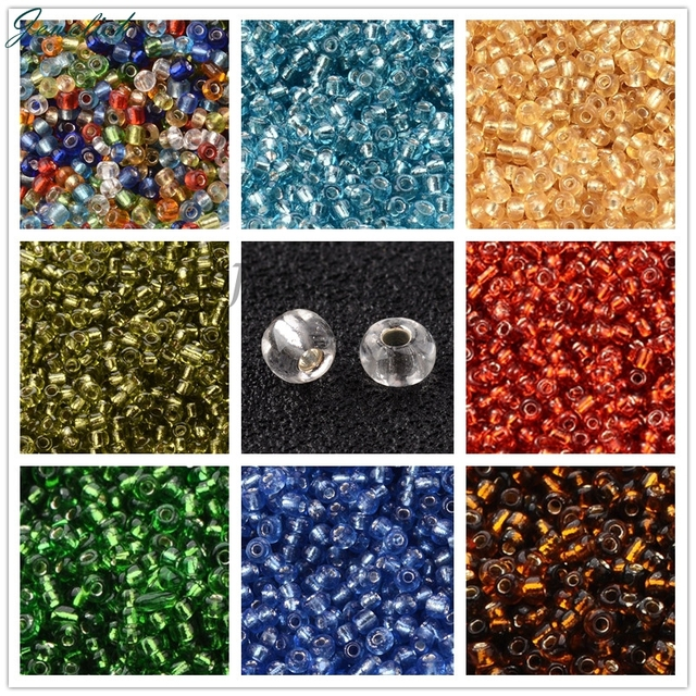 Silver Lined 2/3/4mm 8/0 6/0 12/0 Pequeña Pequeña Semilla de Cristal Perlas para La Joyería de DIY Que Hace Agujero redondo Redondo