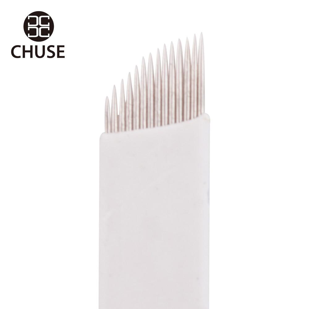100% Original Famous Brand CHUSE Tattoo Needle S14 Permanent Makeup Needles Eyebrow Microblading Manual Blade 14-Pin Bevel 50Pcs 11