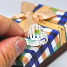 Чистого серебра блочный монограммный кольцо персонализированные