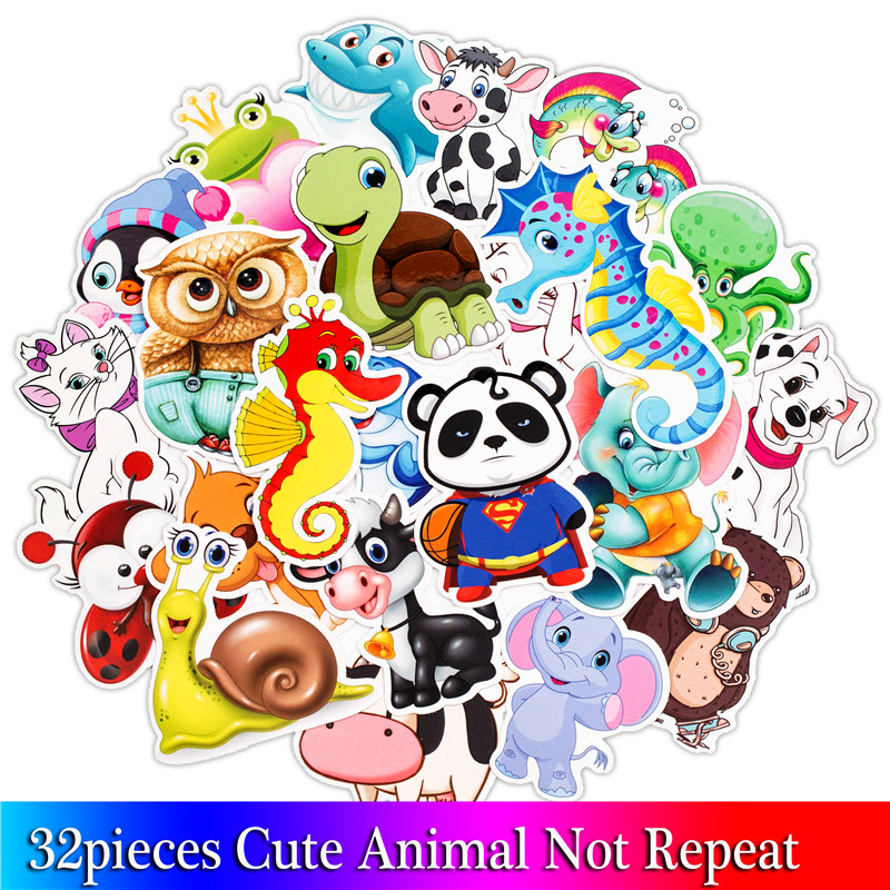 32PCS Cartoon Animal Stickers Kids Toy Sticker For DIY Luggage Laptop Skateboard Motorcycle Bike Bedroom Sticker цены онлайн