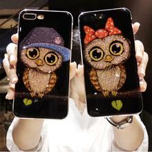 Cartoon glitter owl Lovers case for Huawei Y6 Y9 Y5 Prime 2018 P20 P9 P10 Mate 10 Lite Honor 8x 10 9 Lite 7C 7A Pro 7X P Smart