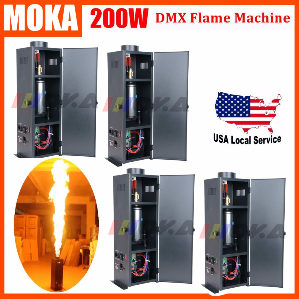 4pcs/lot 200W Fire Machine DMX 512 Spray Fire Machine Stage Fire Effect Equipment Fire Flame Machine Projector Six Corner fire machine dmx dmx 512 fire flame machine - title=