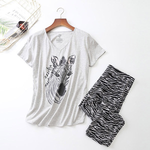 Image 2 - Женский пижамный комплект на лето и весну, новинка, пижама с принтом зебры из мультфильма, топ с v образным вырезом + штаны, тонкая Домашняя одежда большого размера в Корейском стиле