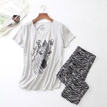 Bayanlar pijama seti yaz/bahar yeni karikatür Zebra baskılı pijama v yaka üst + pantolon 2 adet kore tarzı ince büyük boy ev tekstili