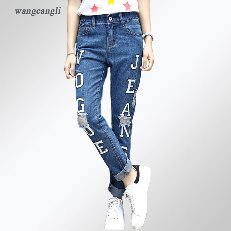 jeans women elasticity cowby Thighs printing letter fashion Low Waist Ripped vogue Large size blue Straight Holes jeans XL 5XL