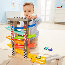 Six-track Baby Kids Wooden Ladder Gliding Car Wooden Slot Track Car Toys Educational Model To Slide Toy for Children Boy Gifts цена и фото