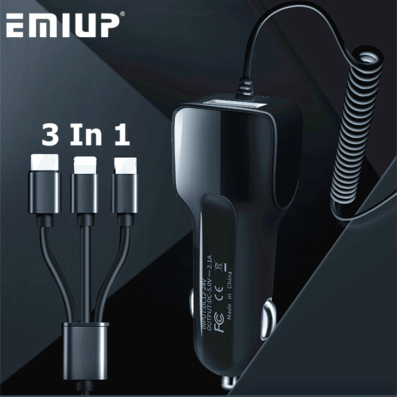 EMIUP 3 In 1 <font><b>Car</b></font> <font><b>Charger</b></font> <font><b>USB</b></font> For IPhone X 7 XS Max <font><b>Car</b></font>-<font><b>Charger</b></font> Micro <font><b>USB</b></font> Type C Mobile Phone Charge For Samsung S9 S8 Xiaomi image