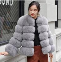 New Womens Winter Autum Stand Collar Fake Fox Fur Jackets Fur Gilet Fourrure Long Sleeves Thick Warm Female Faux Fur Coat K1148