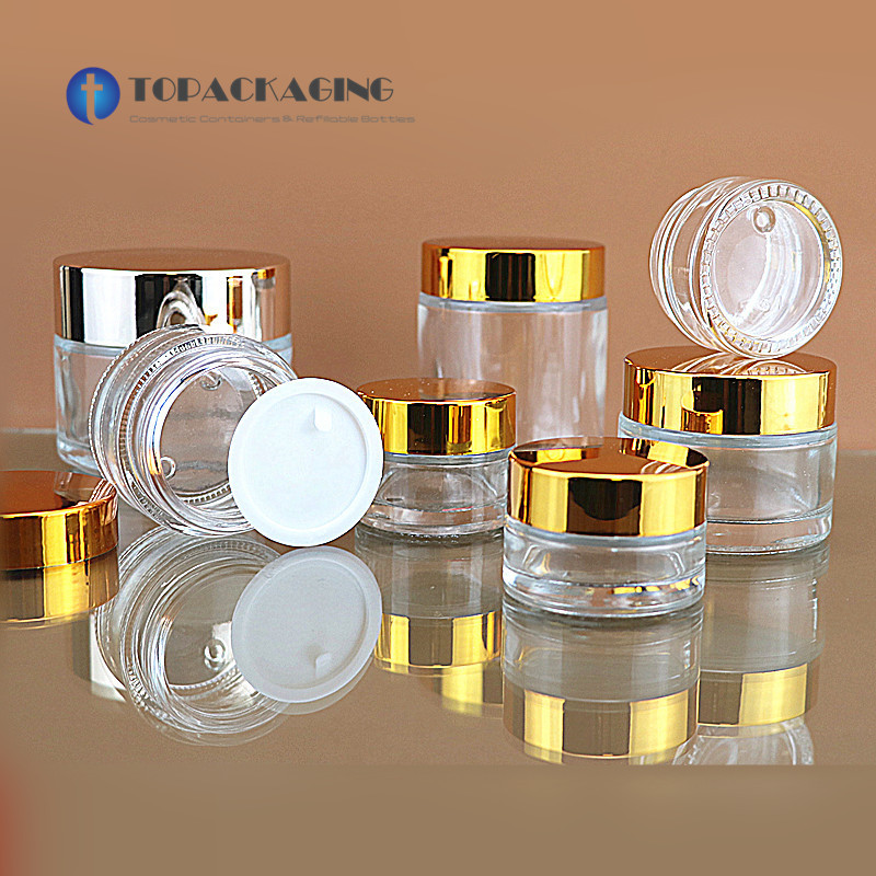 50PCS 5 10 15 20 30 50 80 100g Cream Jar Clear Glass Cosmetic Container Empty