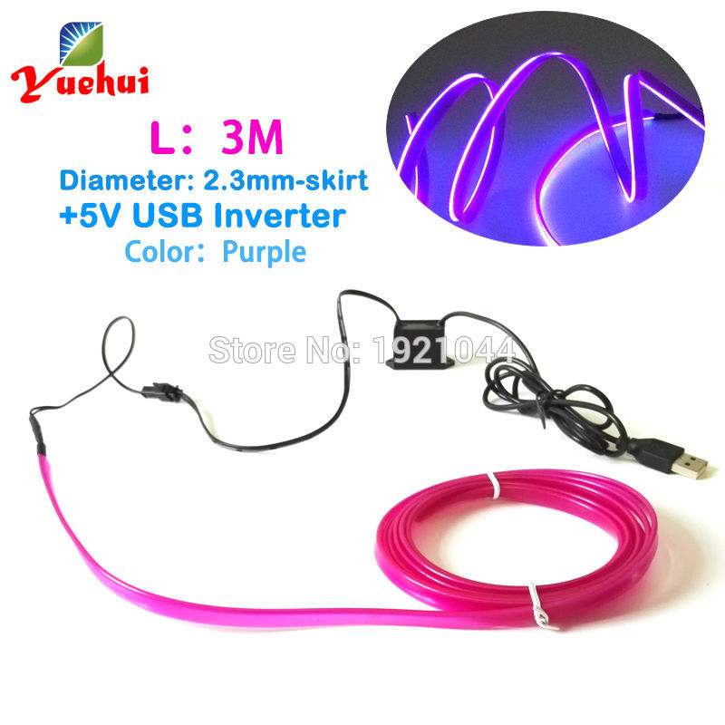 3Meter 2.3mm-Skirt Purple With 5V USB Driver Flexible EL Wire Glow Neon Led Thread Neon Tube Rope Light For Car Party Decoration