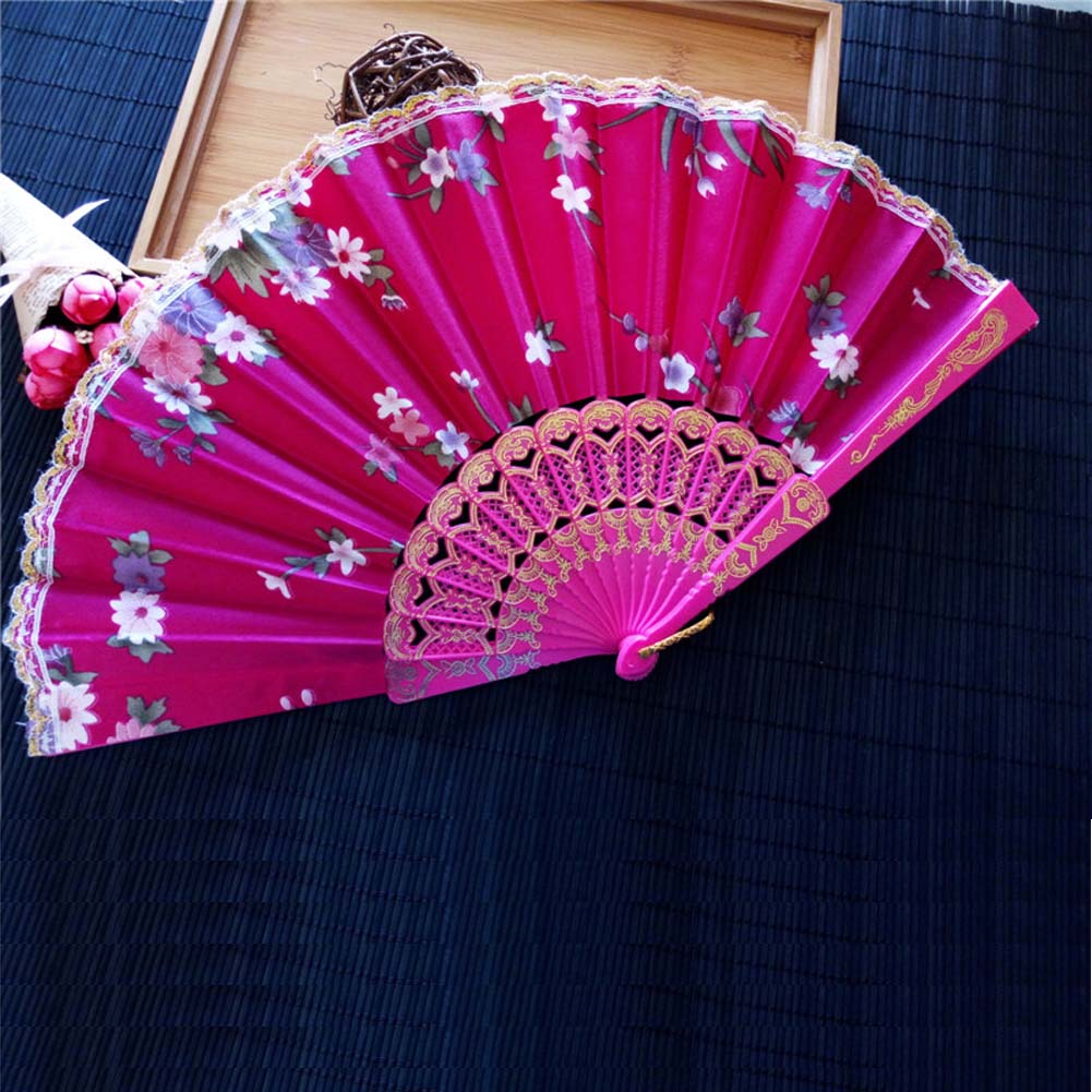 New Chinese Japanese Vintage Fancy Folding Fan Hand Plastic Lace ...