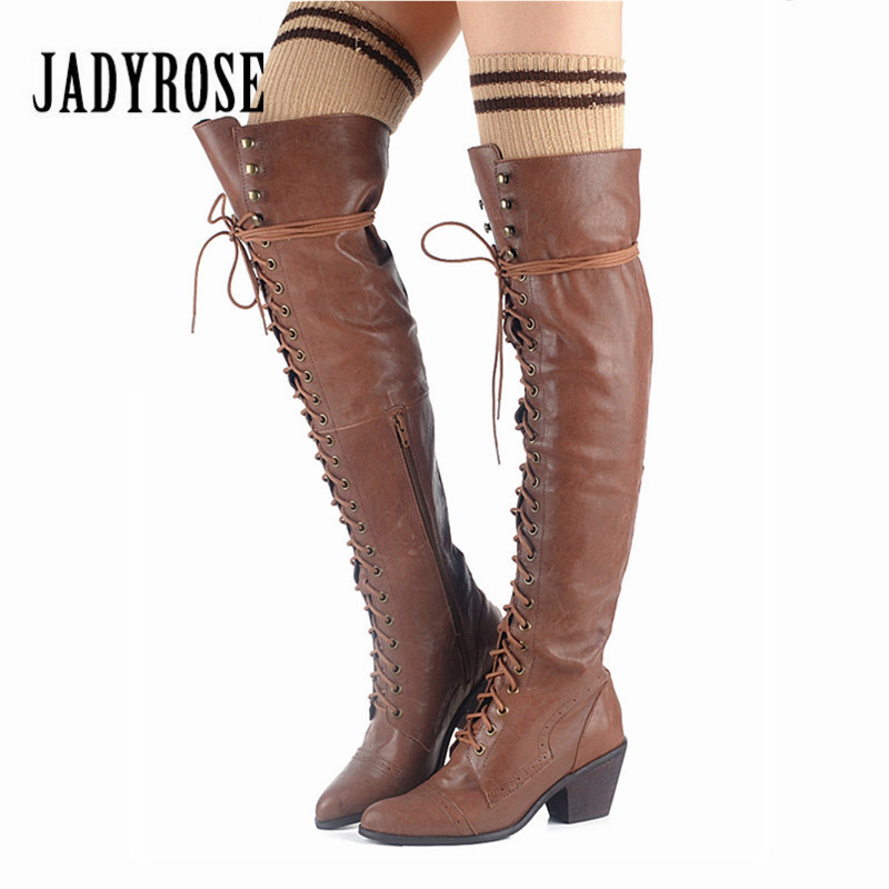 Jady Rose Sexy Lace Up Genuine Leather Women Over The Knee Boots Pointed Toe Thigh High Boots Female High Heel Martin Boot jady rose vintage black women knee high boots lace up side zip platform high boots thick heel flat martin boot for autumn winter