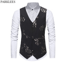 ca2fbacc8 Mens Hipster Gold Rose Printed Slim Fit Single Breasted Suit Vest Tuxedo  Waistcoat 2018 Fashion Wedding