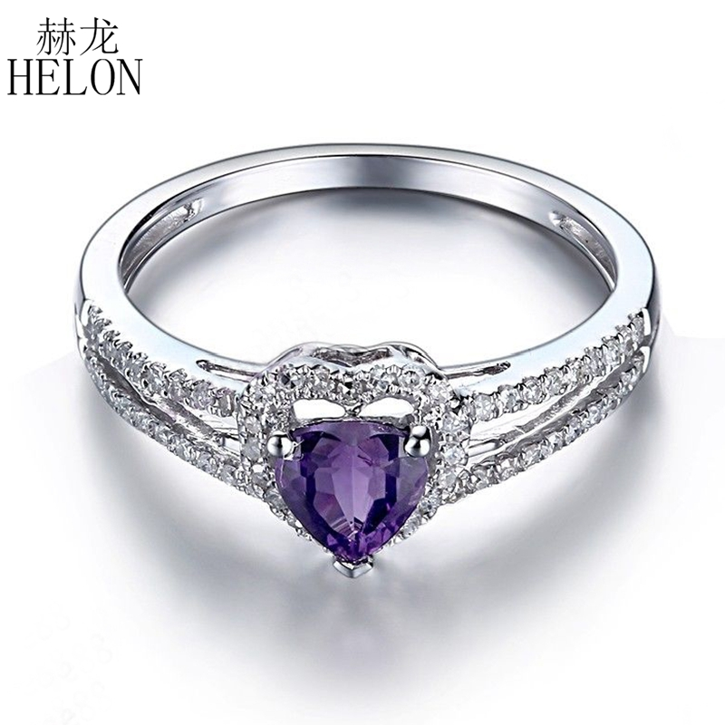 HELON Solid 14K White Gold Pave 0.22ct Natural Diamonds Ring Flawless 5x4mm Heart Shape Amethyst Gemstone Wedding Jewelry RingHELON Solid 14K White Gold Pave 0.22ct Natural Diamonds Ring Flawless 5x4mm Heart Shape Amethyst Gemstone Wedding Jewelry Ring