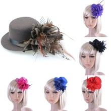 Sale 1Pc Hair Jewelry Party Wedding Hair Clip Hat Flower Feather Bride Headband Princess Fashion Jewelry