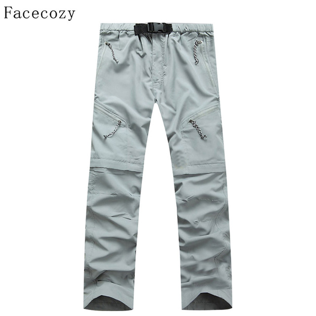 Facecozy Men Summer Outdoor Fast Drying Pants Male Anti-UV SportsTravel Trousers Pant's Leg can be Removed
