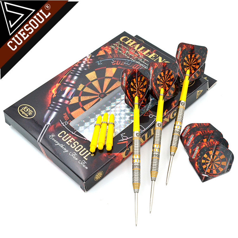 New CUESOUL 145mm Professional 85% Tungsten Steel Tip Darts With Nylon Shafts 24/26/28g Yellow cuesoul 24 26 28g professional 85% tungsten steel tip darts 145mm with nylon shafts csgl n2209