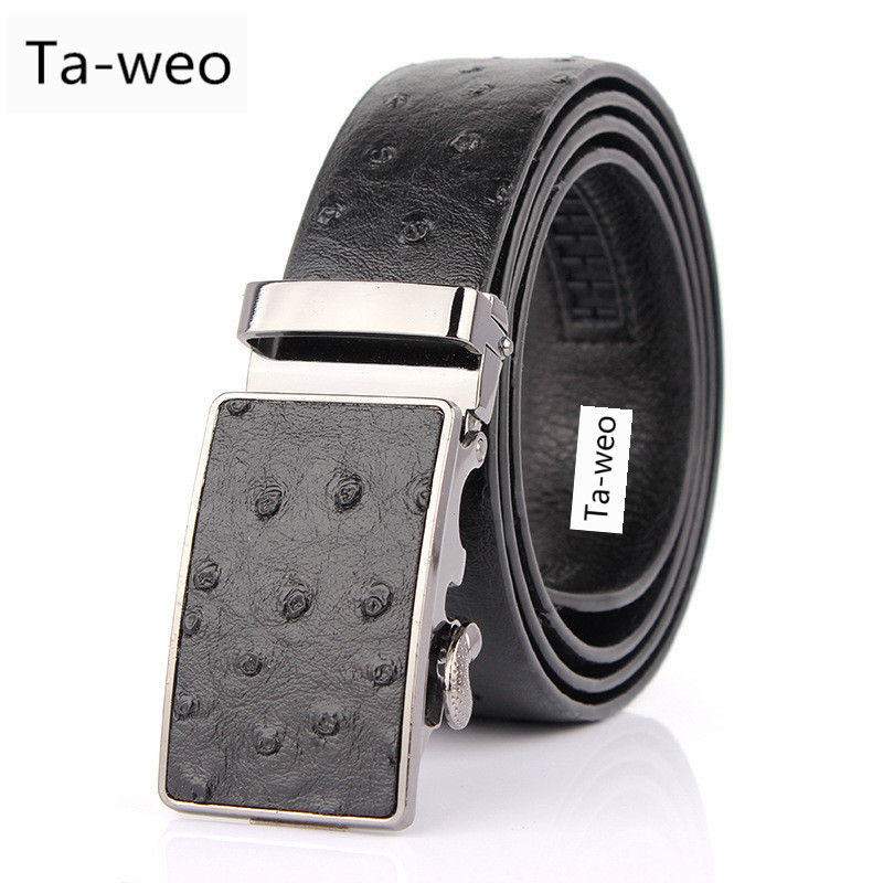 Fashion Casual Men's Leather Belt, Ostrich Striped Pattern Belt, Designer Belts Men High Quality, Automatic Buckle Belts